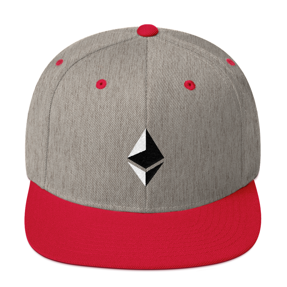 Ethereum Snapback Hat Heather Grey/ Red  - zeroconfs