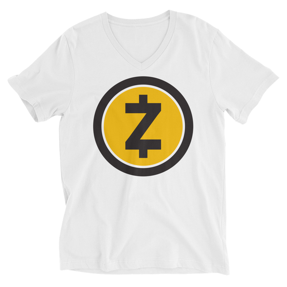 Zcash V-Neck T-Shirt White XS - zeroconfs