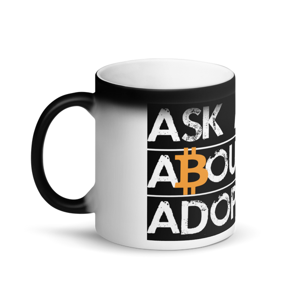 Ask Me About Adoption Bitcoin Magic Mug   - zeroconfs