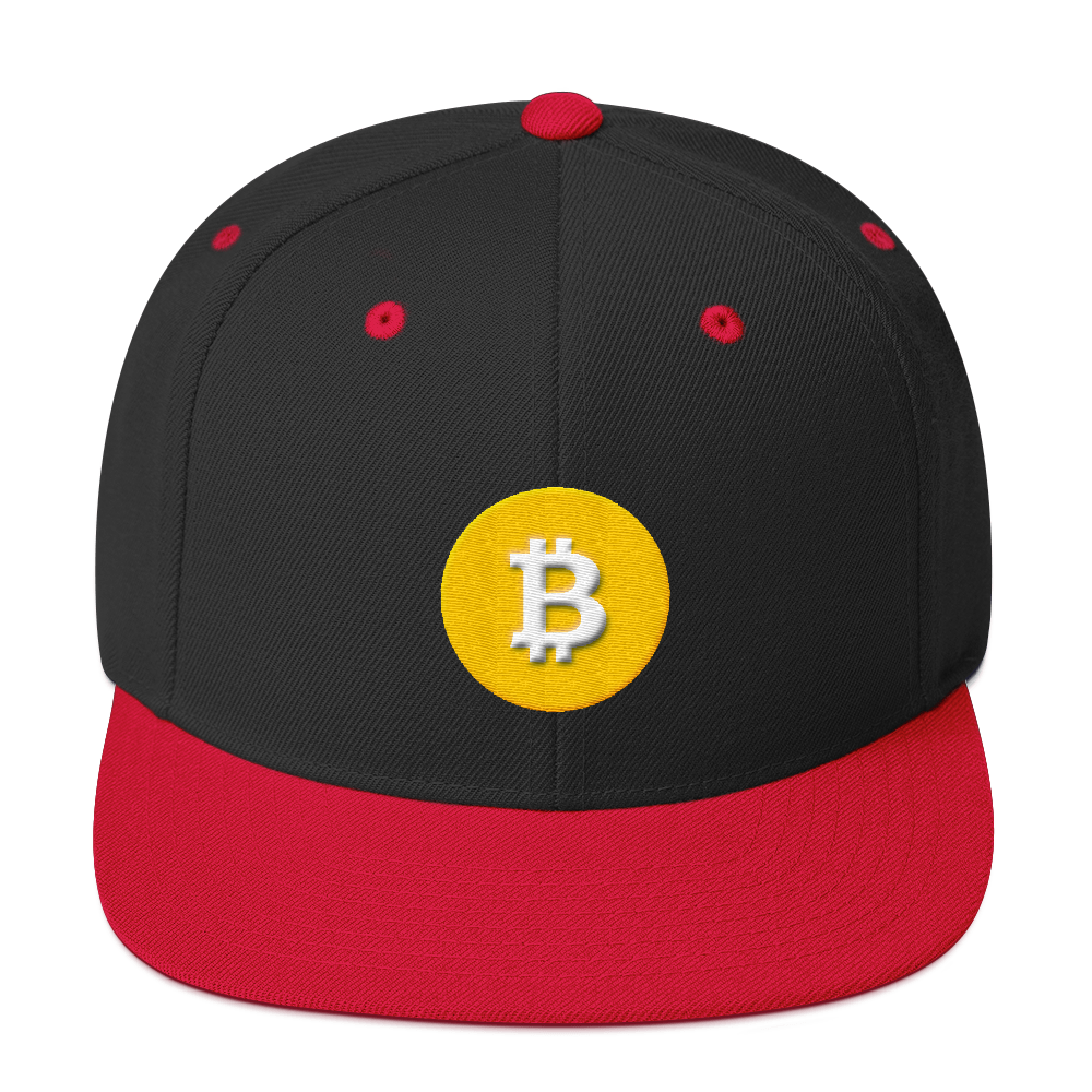 Bitcoin SV Logo Snapback Hat Black/ Red  - zeroconfs