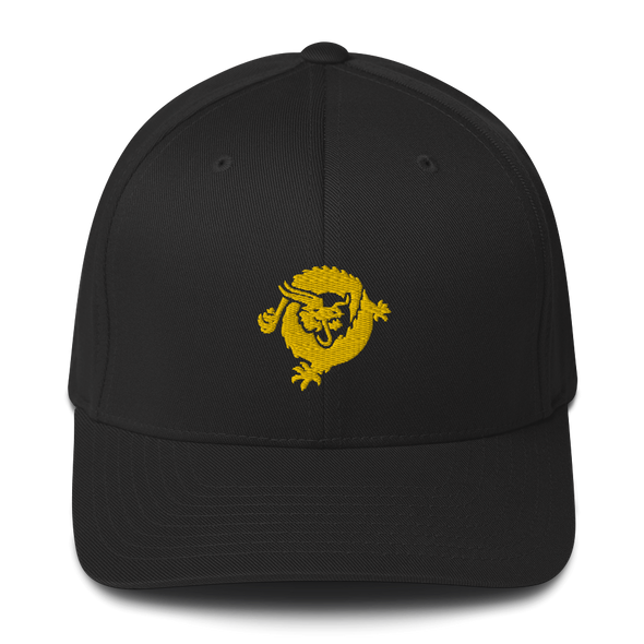 Bitcoin SV Dragon Flexfit Cap Gold Black S/M - zeroconfs