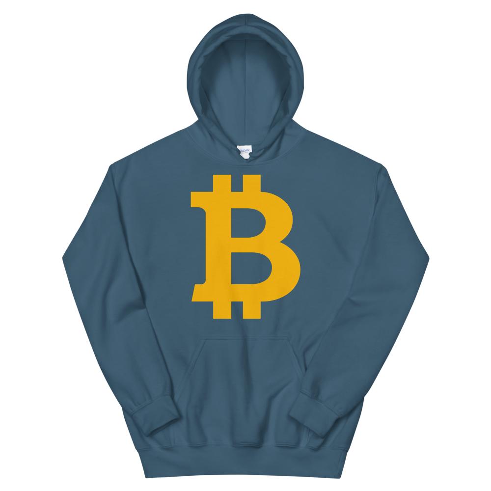 Bitcoin B Hooded Sweatshirt Indigo Blue S - zeroconfs