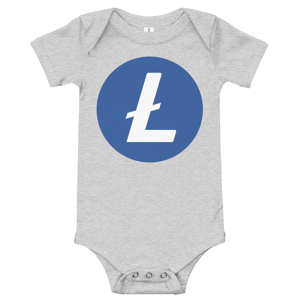 Litecoin Baby Bodysuit Athletic Heather 3-6m - zeroconfs