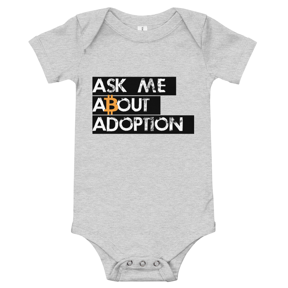 Ask Me About Adoption Bitcoin Baby Bodysuit Athletic Heather 3-6m - zeroconfs