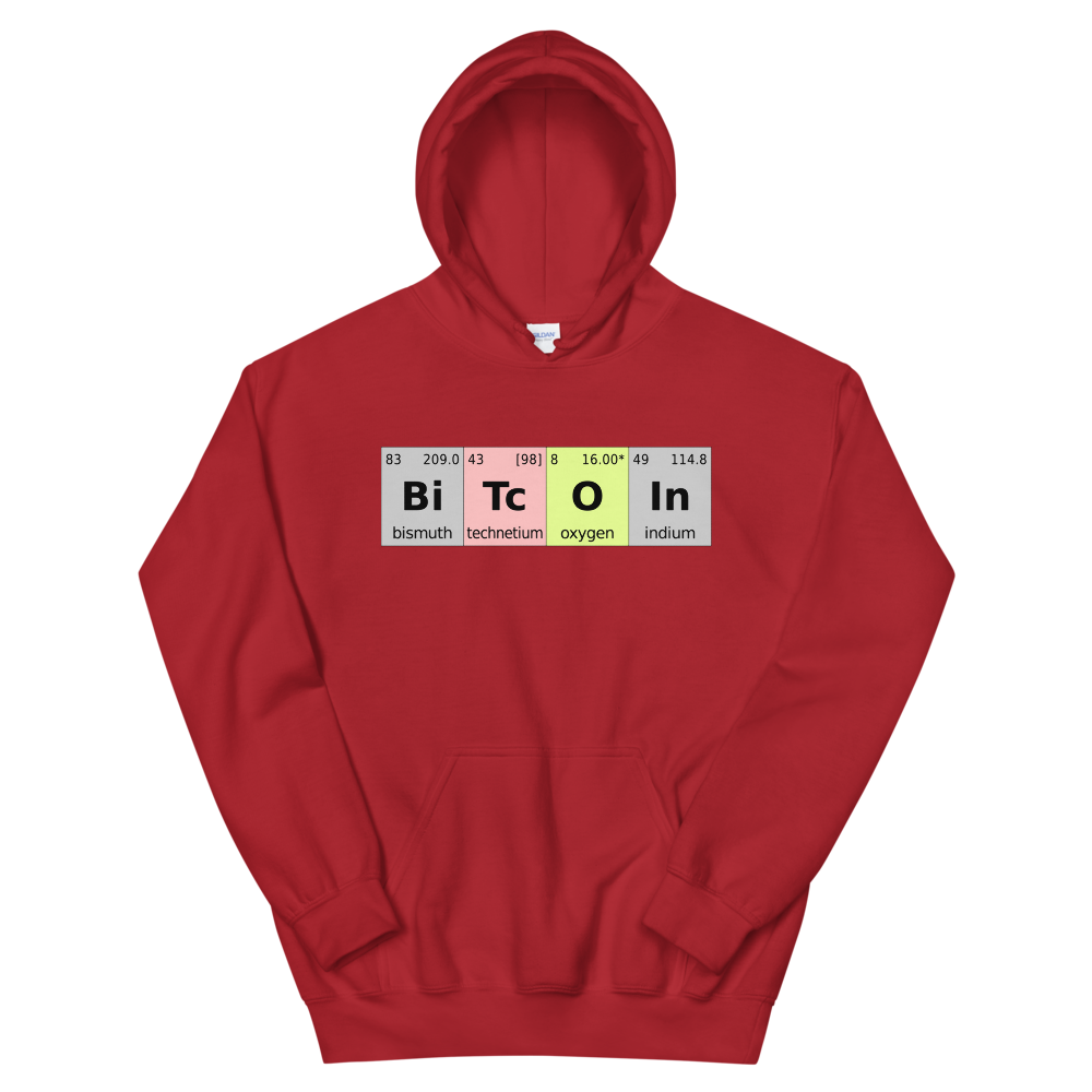 Bitcoin Periodic Table Hooded Sweatshirt Red S - zeroconfs