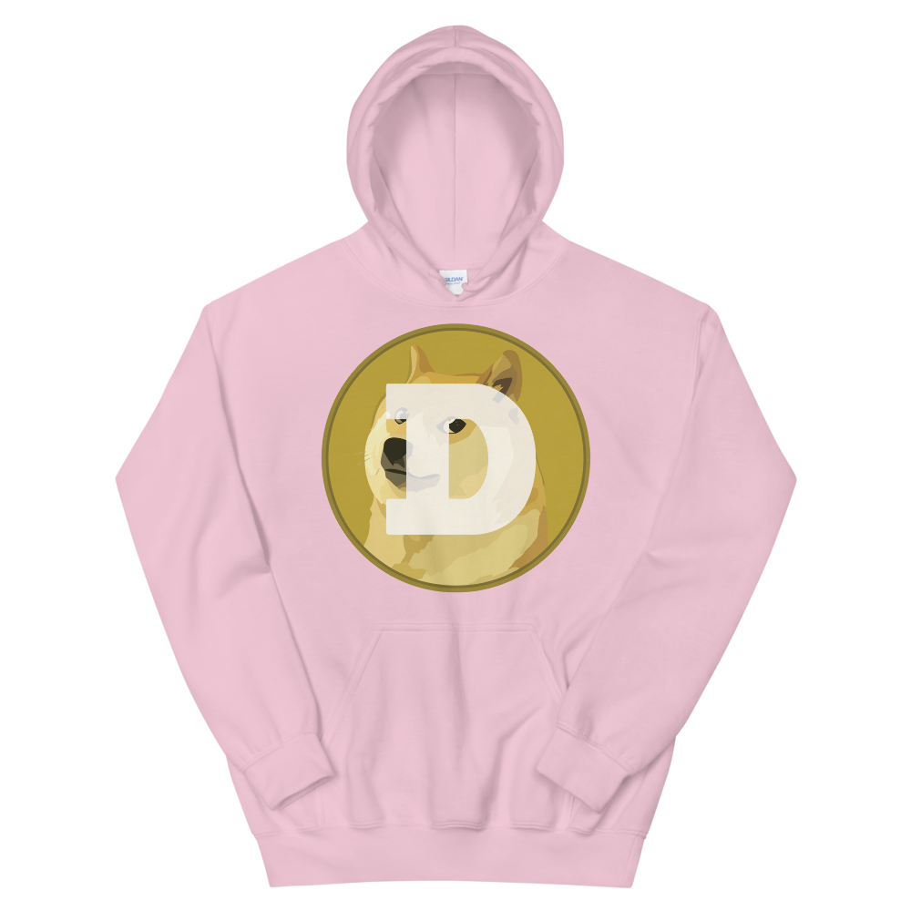 Dogecoin Women's Hooded Sweatshirt Light Pink S - zeroconfs