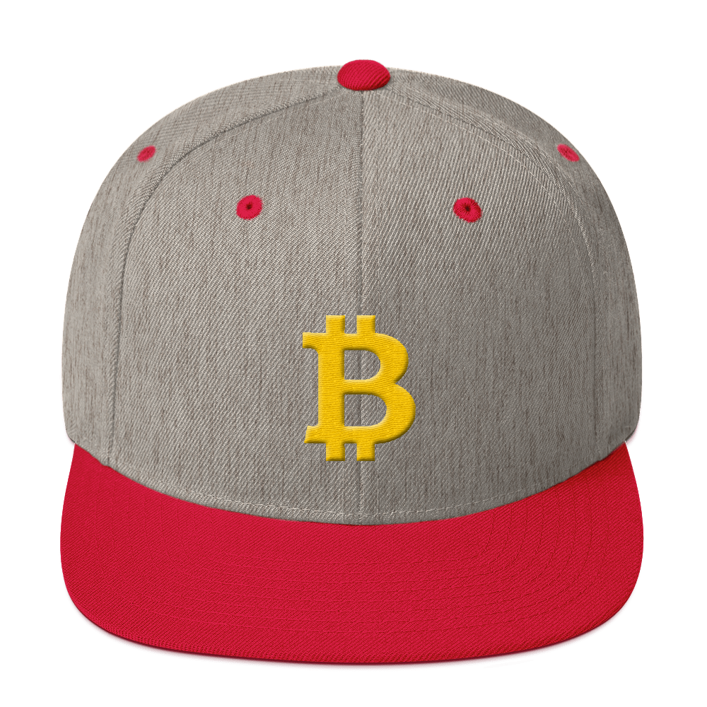 Bitcoin B Snapback Hat Heather Grey/ Red  - zeroconfs