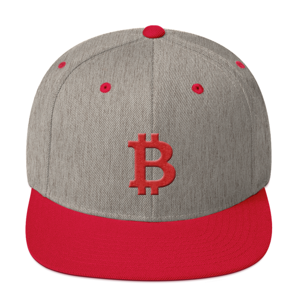 Bitcoin B Snapback Hat Red Heather Grey/ Red  - zeroconfs