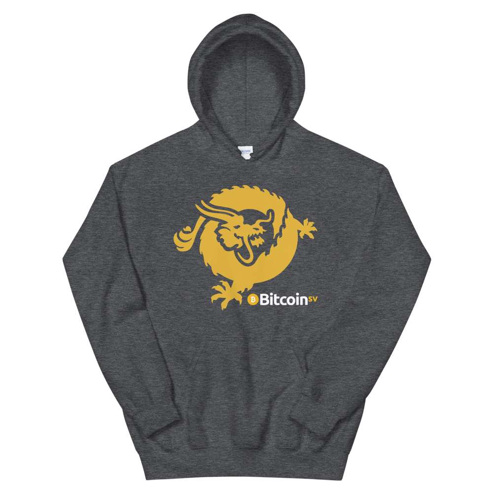 Bitcoin SV Dragon Hooded Sweatshirt Dark Heather S - zeroconfs