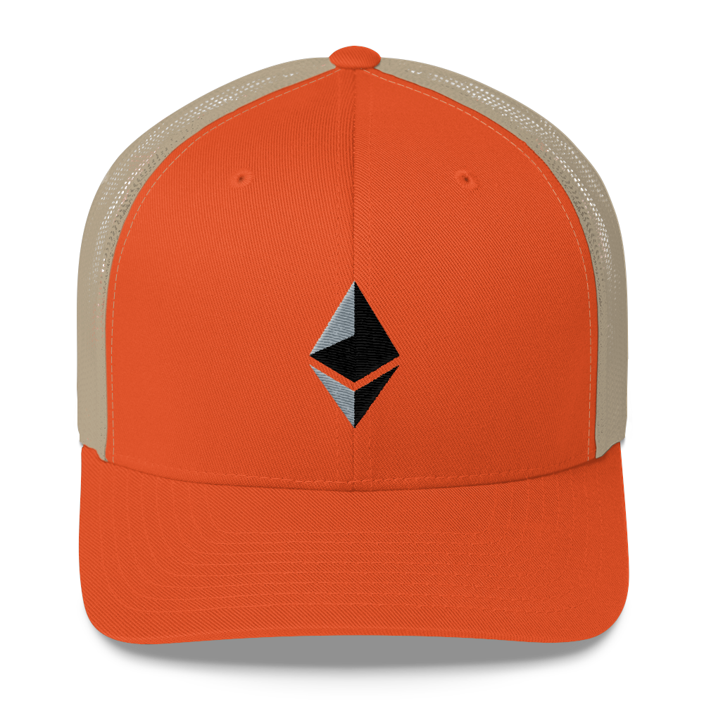 Ethereum Trucker Cap Rustic Orange/ Khaki  - zeroconfs