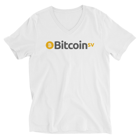 Bitcoin SV V-Neck T-Shirt White S - zeroconfs