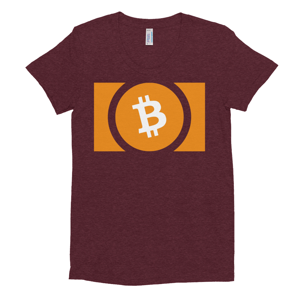 Bitcoin Cash Women's Crew Neck T-shirt Tri-Cranberry S - zeroconfs