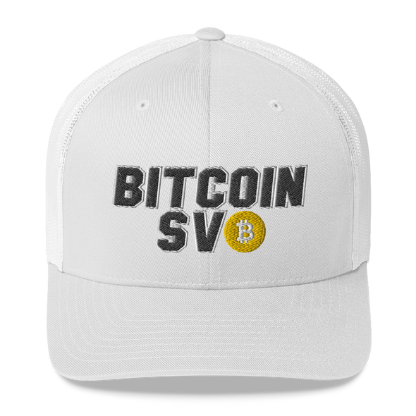 Bitcoin SV Sports Trucker Cap White  - zeroconfs