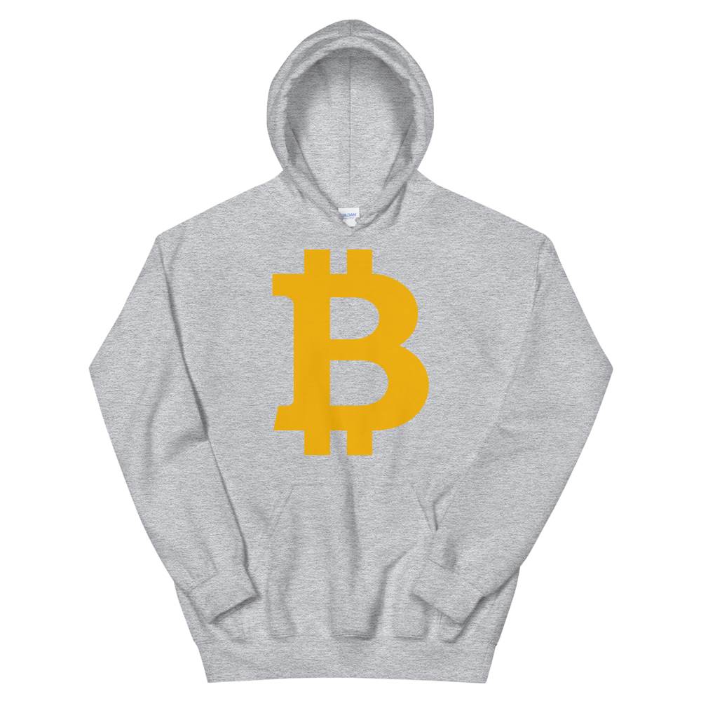 Bitcoin B Hooded Sweatshirt Sport Grey S - zeroconfs