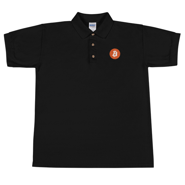 Bitcoin Core Embroidered Polo Shirt Black S - zeroconfs