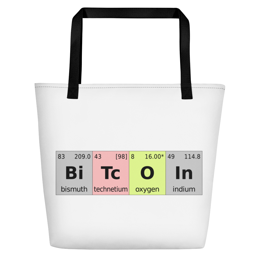 Bitcoin Periodic Table White Beach Bag   - zeroconfs