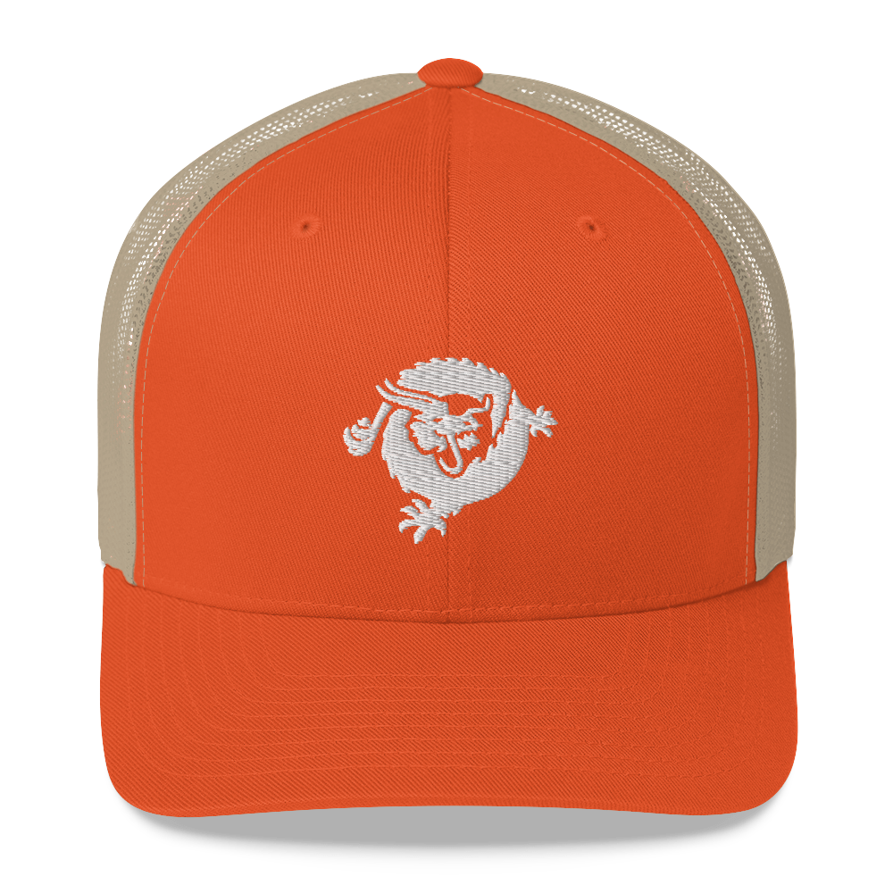 Bitcoin SV Dragon Trucker Cap White Rustic Orange/ Khaki  - zeroconfs