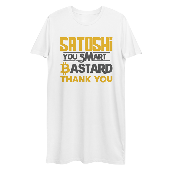 Satoshi You Smart Bastard Bitcoin Premium T-Shirt Dress White XS - zeroconfs
