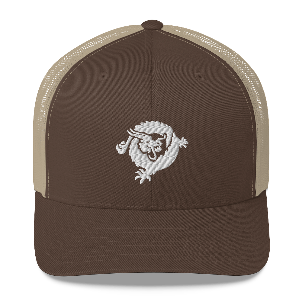 Bitcoin SV Dragon Trucker Cap White Brown/ Khaki  - zeroconfs