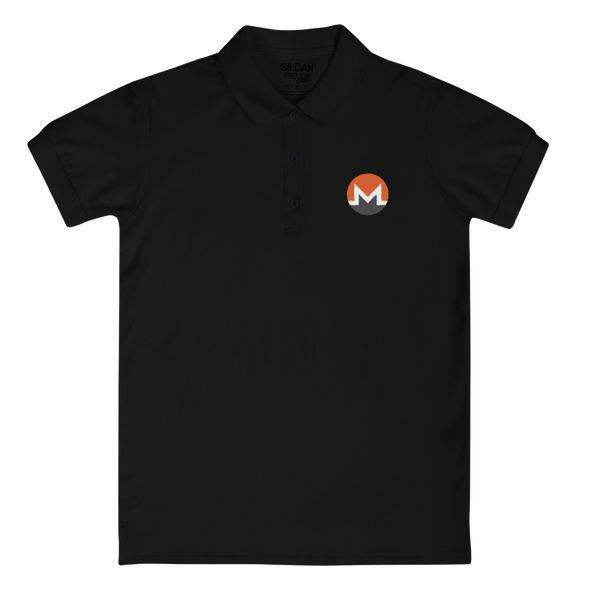 Monero Embroidered Women's Polo Shirt Black S - zeroconfs