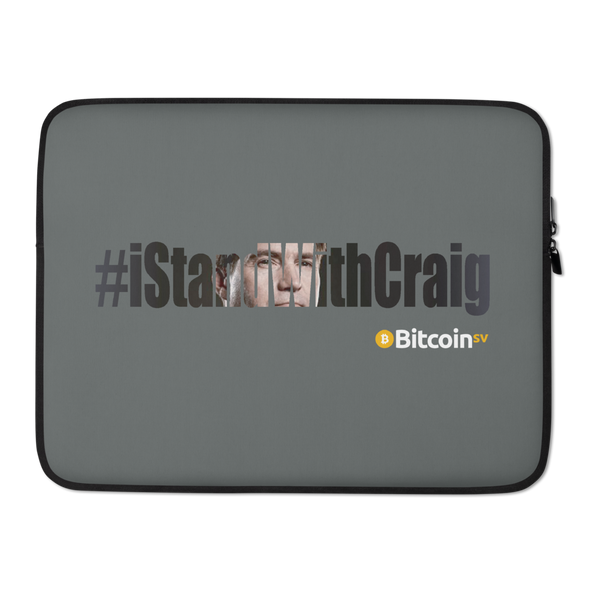 #IStandWithCraig Bitcoin SV Laptop Sleeve Gray 15 in  - zeroconfs