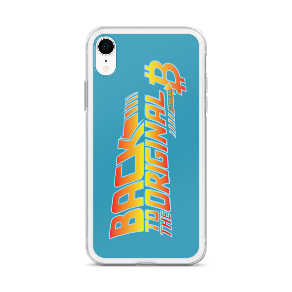 Back To The Original Bitcoin Protocol iPhone Case Blue   - zeroconfs