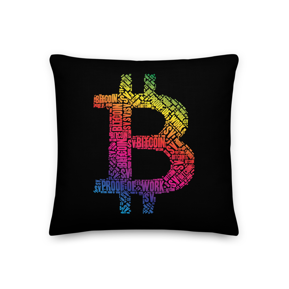 Bitcoin SV Proof Of Work Premium Pillow 18×18  - zeroconfs