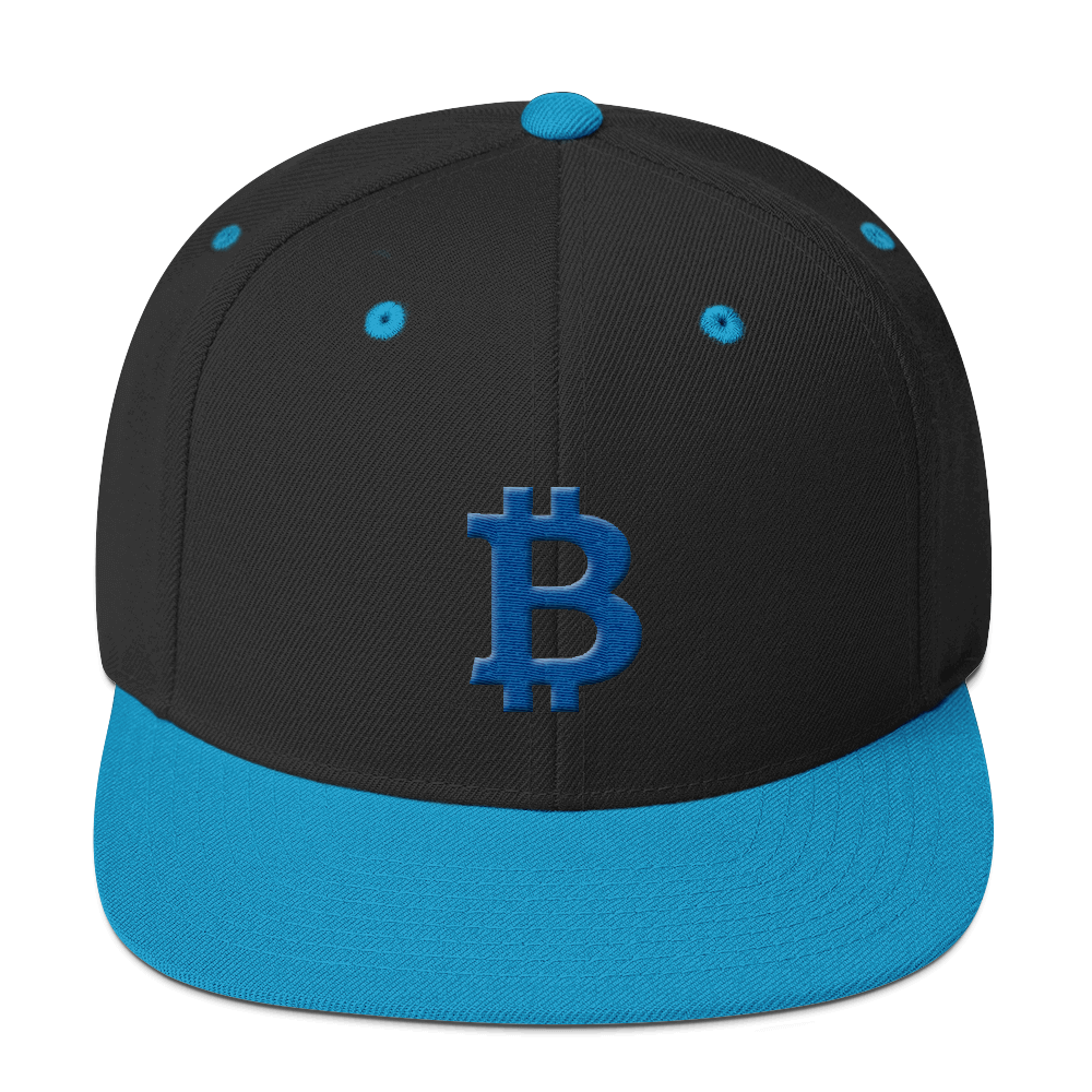 Bitcoin B Snapback Hat Blue Black/ Teal  - zeroconfs