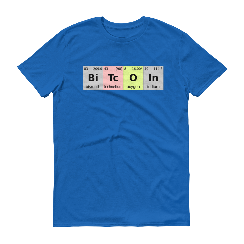 Bitcoin Periodic Table Short-Sleeve T-Shirt Royal Blue S - zeroconfs