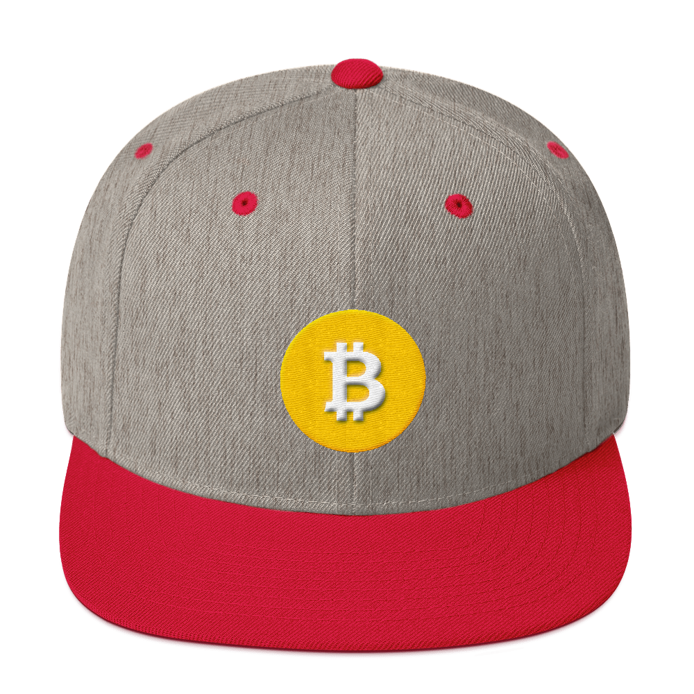 Bitcoin SV Logo Snapback Hat Heather Grey/ Red  - zeroconfs