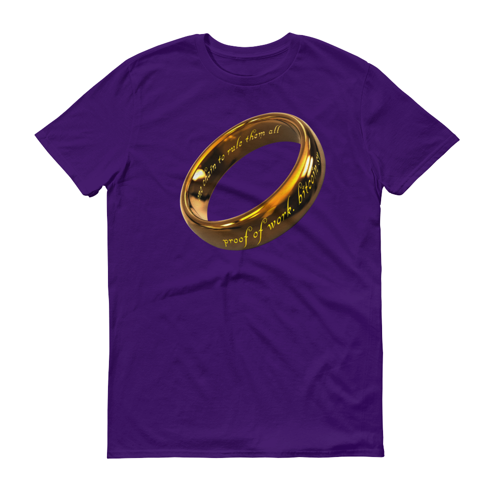 One Chain To Rule Them All Bitcoin SV Short-Sleeve T-Shirt Purple S - zeroconfs
