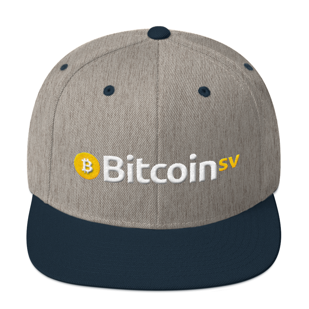 Bitcoin SV Snapback Hat Heather Grey/ Navy  - zeroconfs