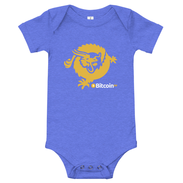 Bitcoin SV Dragon Baby Bodysuit Heather Columbia Blue 3-6m - zeroconfs