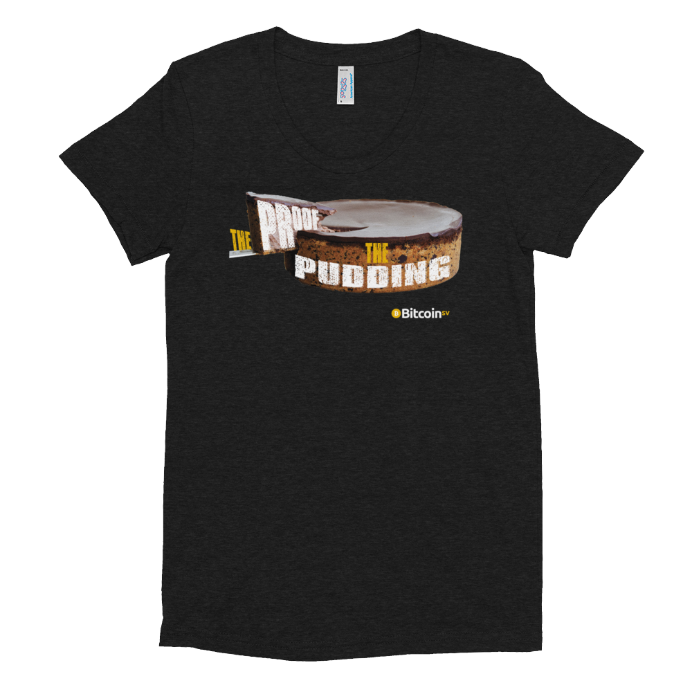 Proof Of Pudding Bitcoin SV Women's Crew Neck T-Shirt Tri-Black S - zeroconfs
