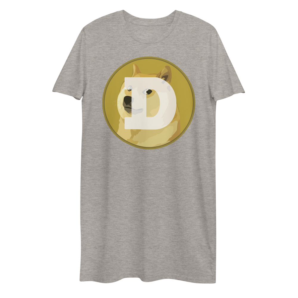 Dogecoin Premium T-Shirt Dress Heather Grey XS - zeroconfs