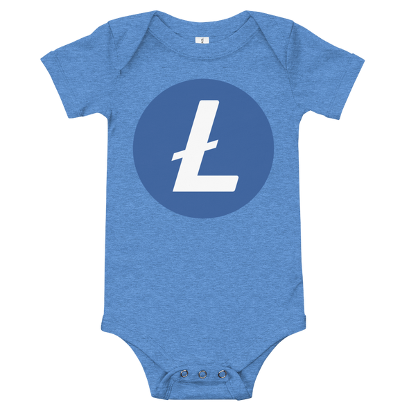 Litecoin Baby Bodysuit Heather Columbia Blue 6-12m - zeroconfs