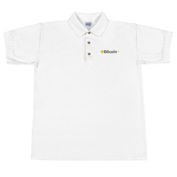 Bitcoin SV Embroidered Polo Shirt White S - zeroconfs