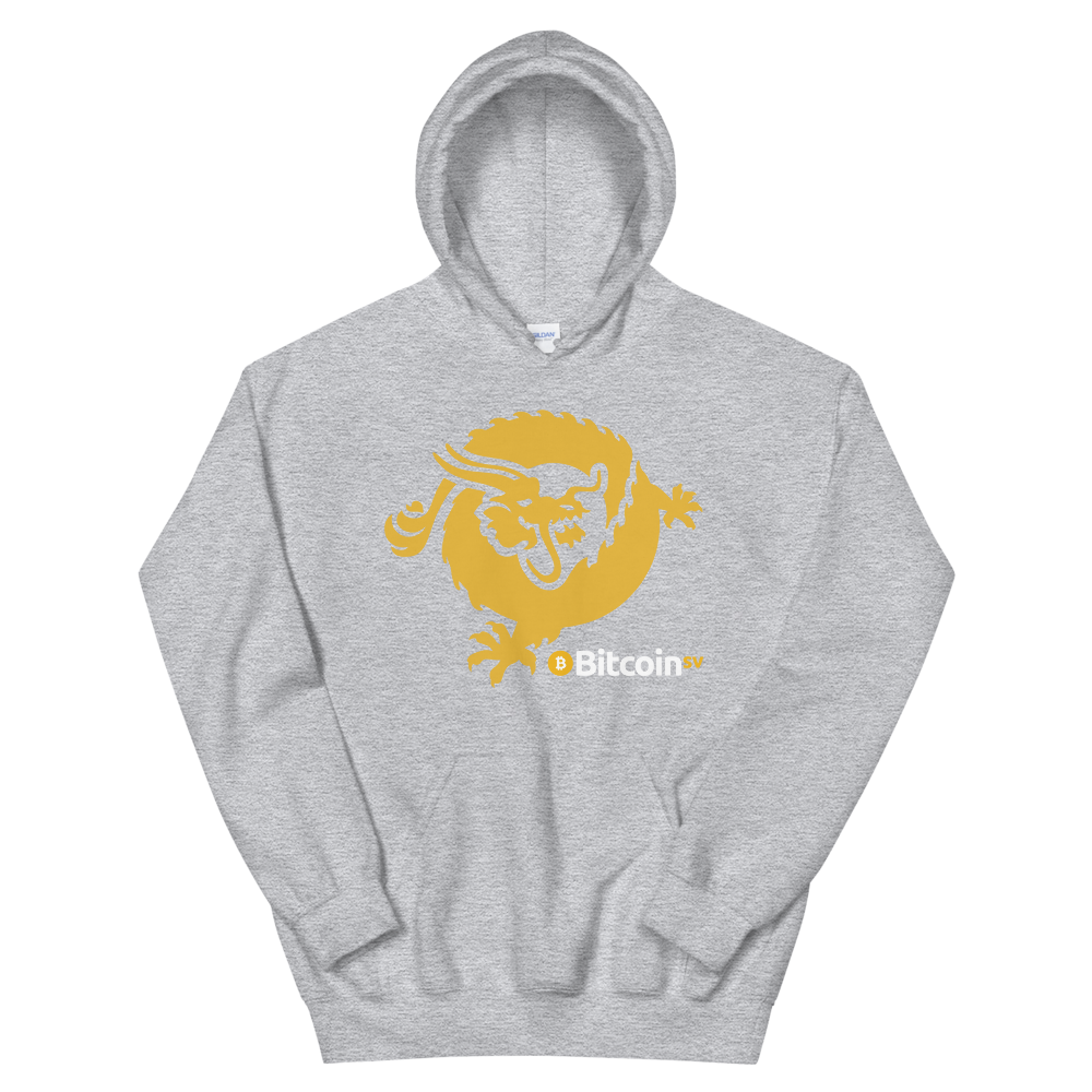 Bitcoin SV Dragon Hooded Sweatshirt Sport Grey S - zeroconfs