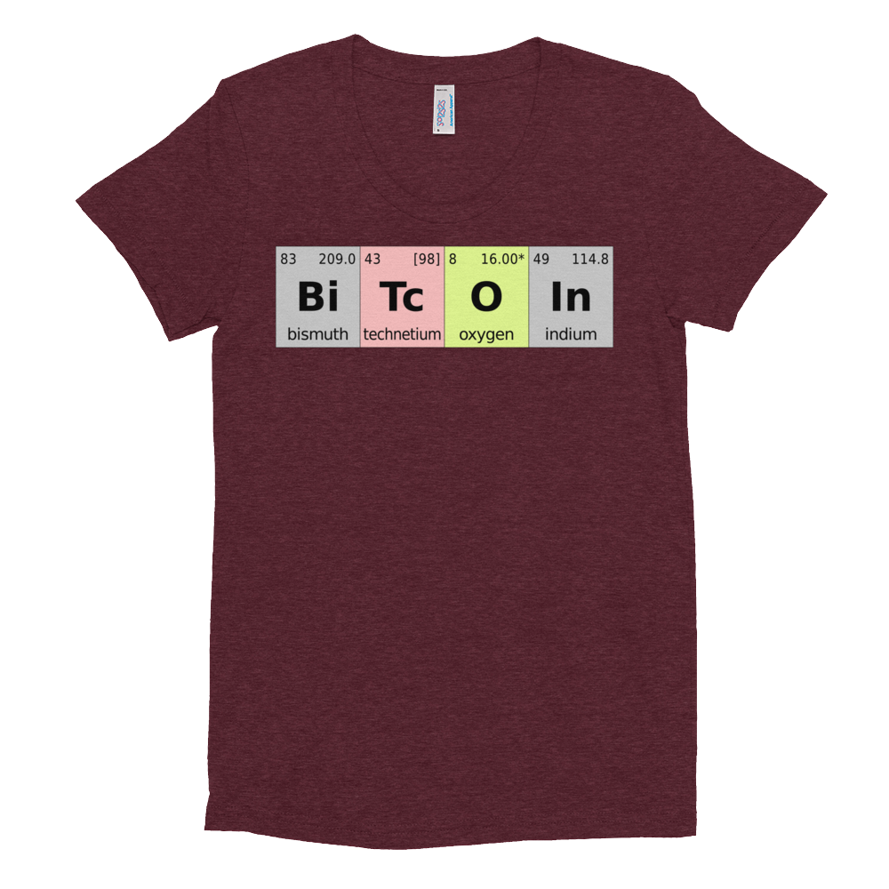 Bitcoin Periodic Table Women's Crew Neck T-Shirt Tri-Cranberry S - zeroconfs