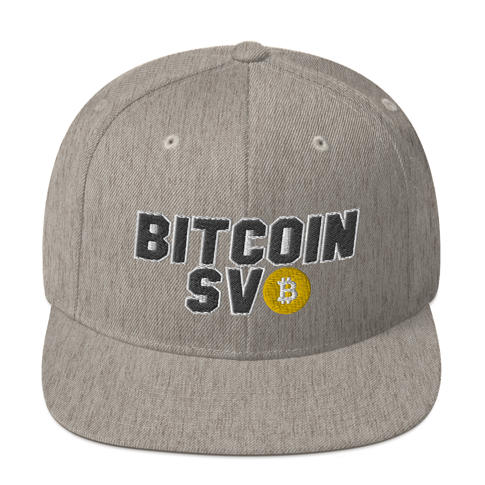 Bitcoin SV Sports Snapback Hat Heather Grey  - zeroconfs