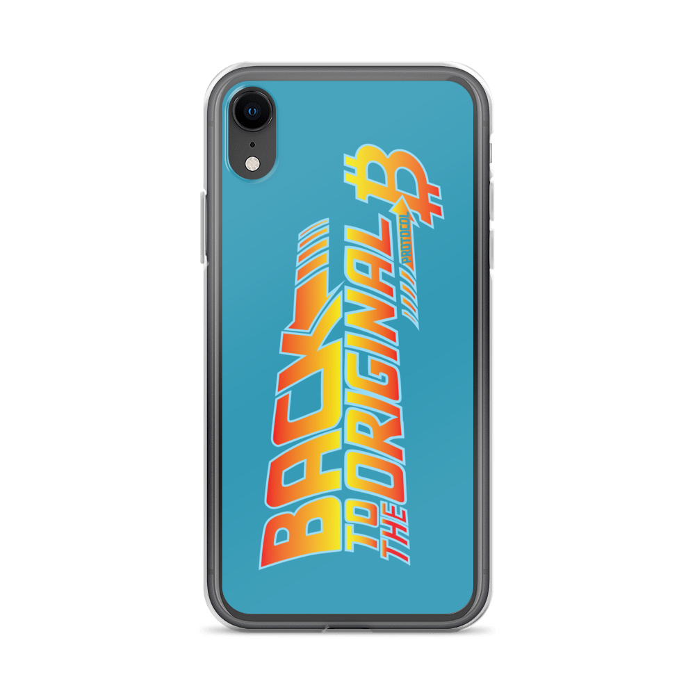 Back To The Original Bitcoin Protocol iPhone Case Blue iPhone XR  - zeroconfs
