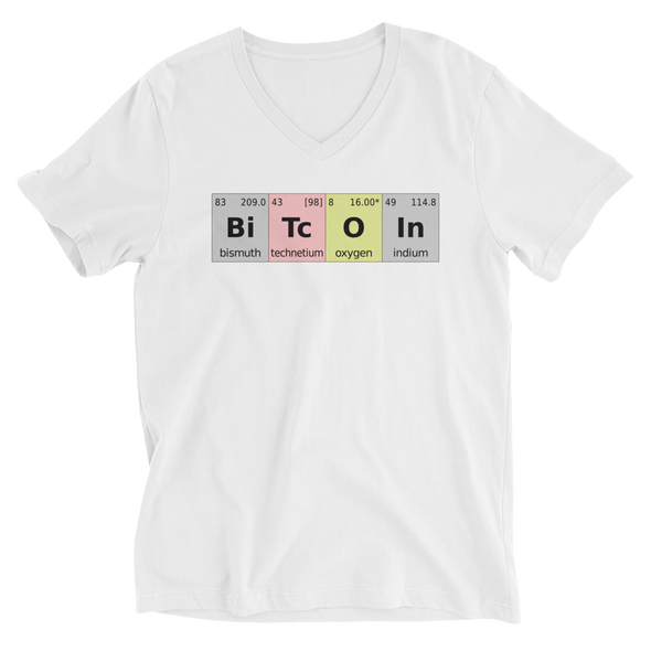 Bitcoin Periodic Table V-Neck T-Shirt White S - zeroconfs