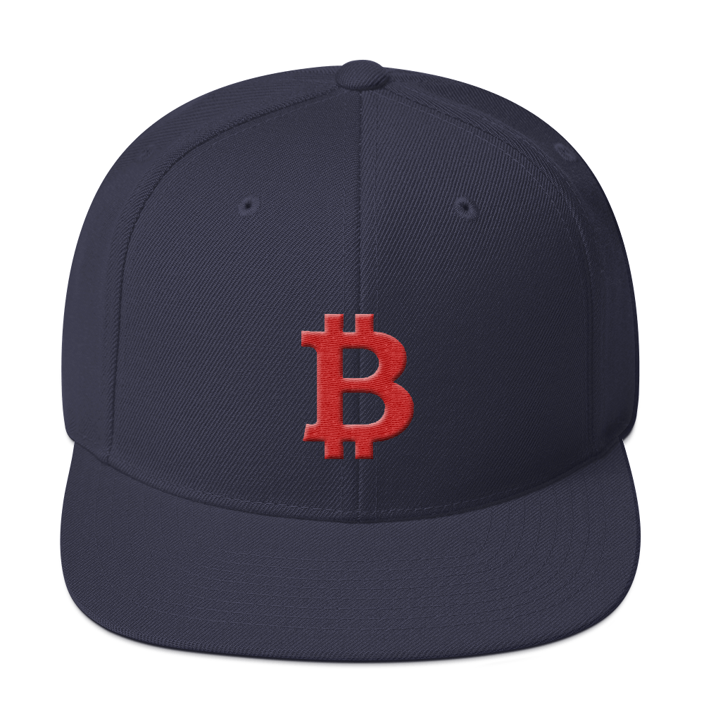 Bitcoin B Snapback Hat Red Navy  - zeroconfs