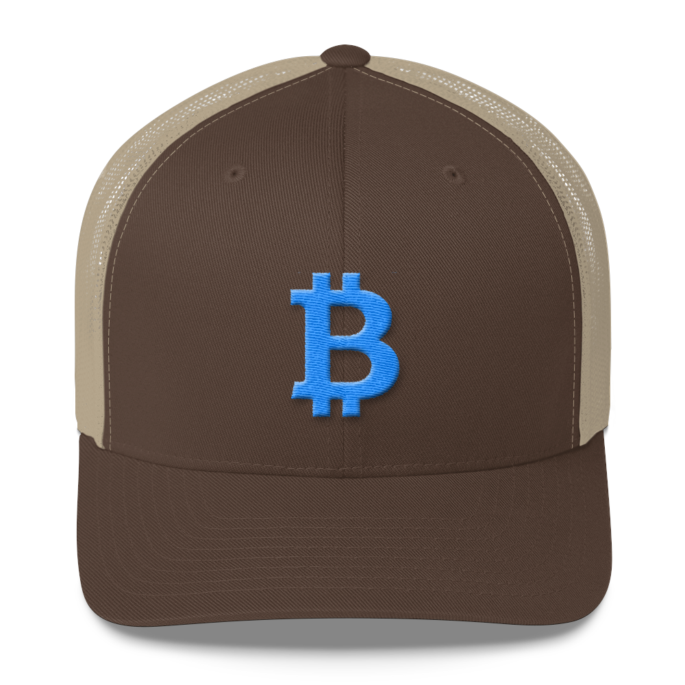 Bitcoin B Trucker Cap Teal Brown/ Khaki  - zeroconfs