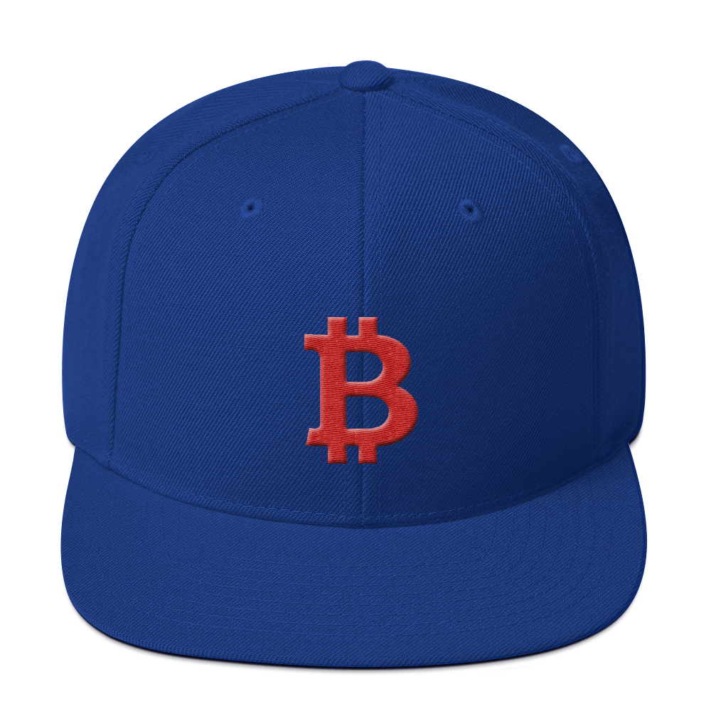 Bitcoin B Snapback Hat Red Royal Blue  - zeroconfs
