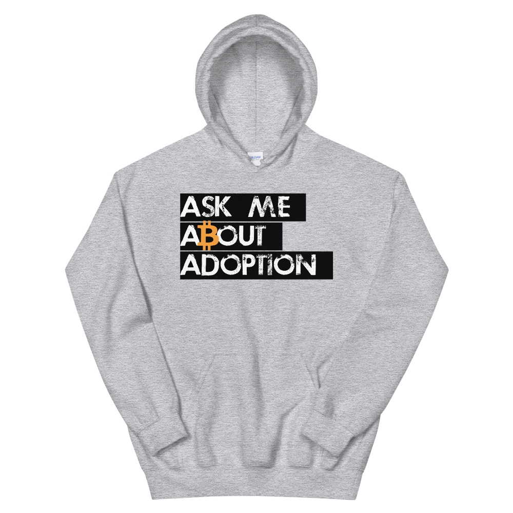 Ask Me About Adoption Bitcoin Hooded Sweatshirt Sport Grey S - zeroconfs