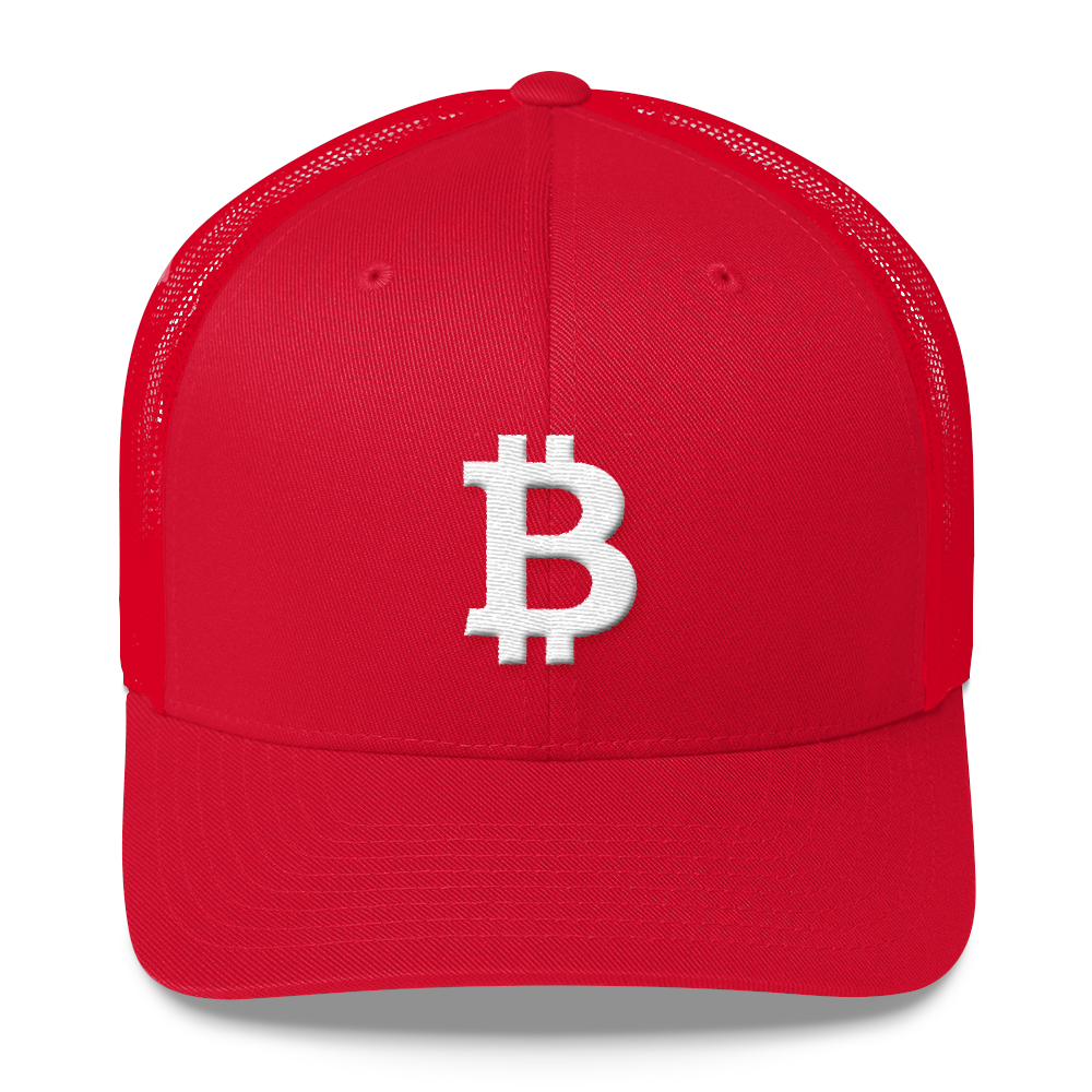 Bitcoin B Trucker Cap White Red  - zeroconfs