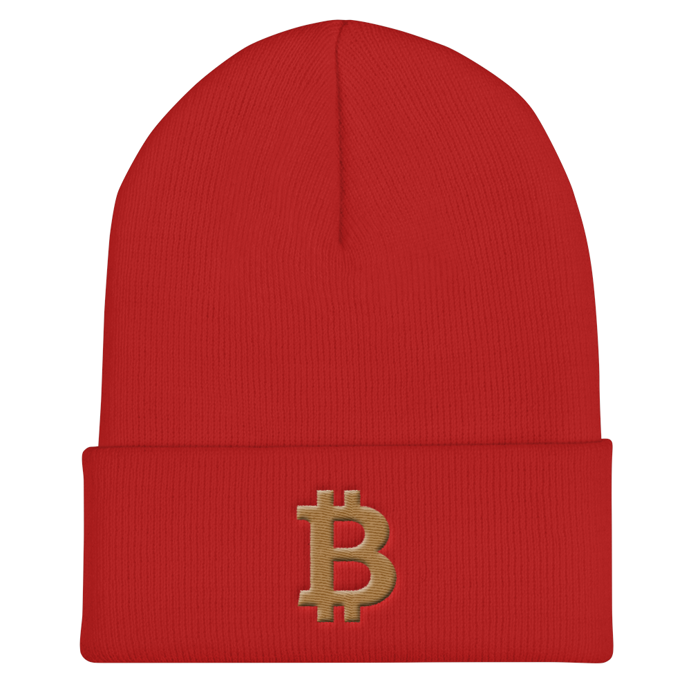 Bitcoin B Cuffed Beanie Gold Red  - zeroconfs