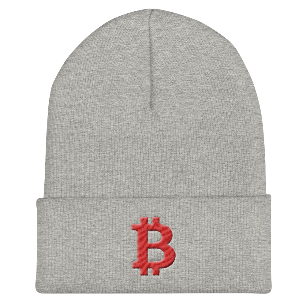 Bitcoin B Cuffed Beanie Red Heather Grey  - zeroconfs