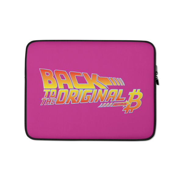 Back To The Original Bitcoin Protocol Laptop Sleeve Pink 13 in  - zeroconfs